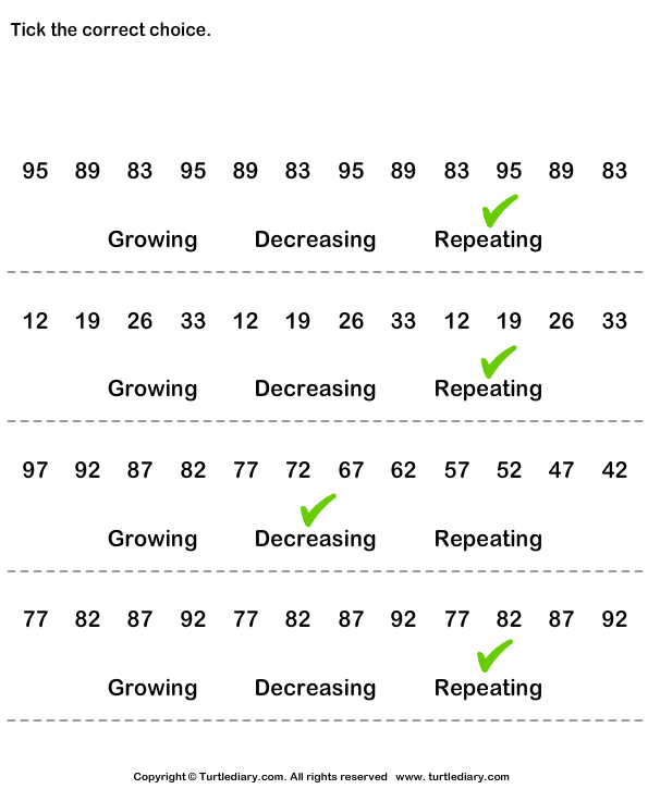Identify Growing Decreasing or Repeating Patterns Worksheet ...