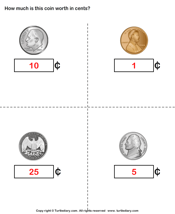 Name and Value of Coins Answer