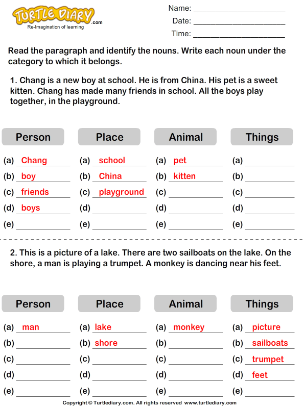 Find Nouns in a Paragraph Answer