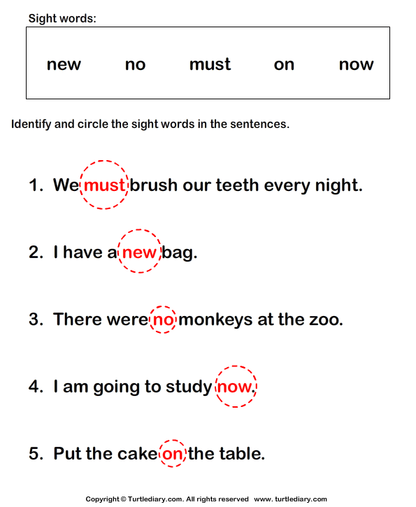 Identify Sight Words Answer