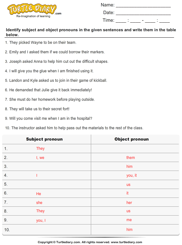 Identify and List the Pronouns Answer