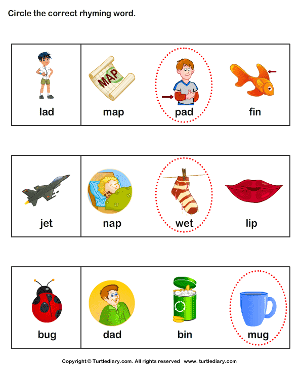 Identify Words That Rhyme Answer