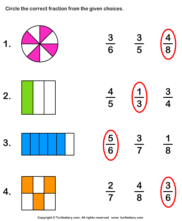 Identifying Fractions Worksheet Turtle Diary – Fraction Worksheet Grade 1