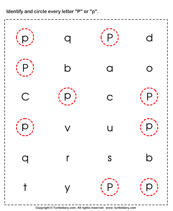 Identifying Lowercase And Uppercase Letter P on Circle The Matching Letter U V W X Y