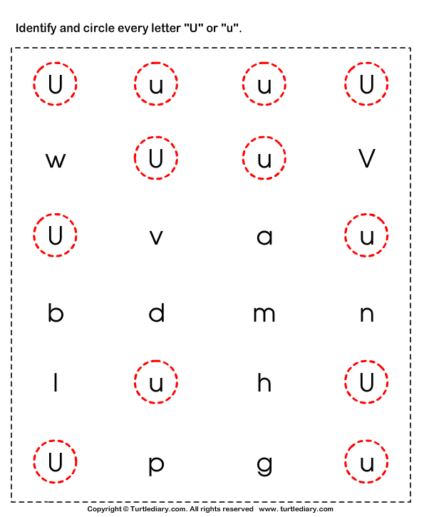 Identifying Lowercase and Uppercase Letter U Worksheet - Turtle Diary