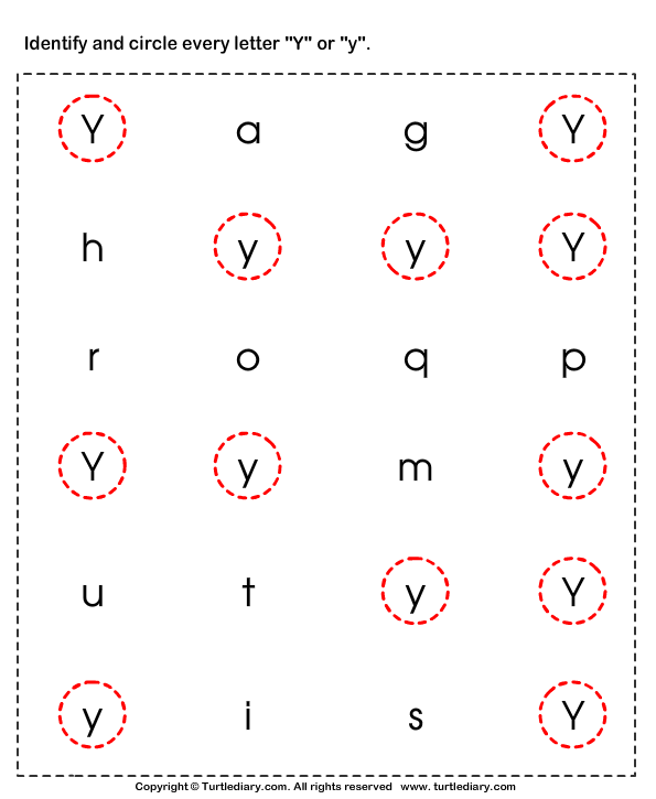 Common Worksheets letter y worksheets : Identifying Lowercase and Uppercase Letter Y Worksheet - Turtle Diary