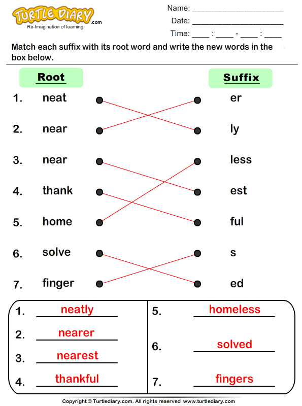 Match Suffixes to Root Words Answer