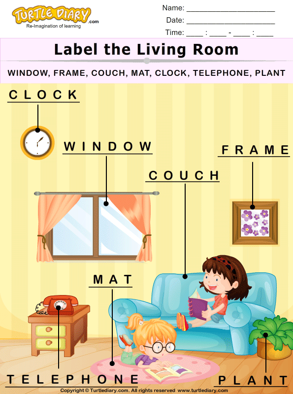 Label The Living Room Worksheet Turtle Diary