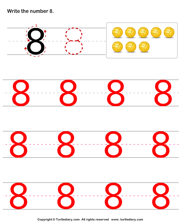 Learn to Write Number Eight Worksheet - Turtle Diary