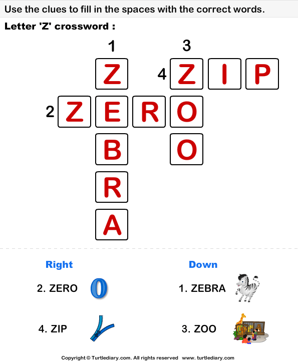 Alphabet Crossword Answer