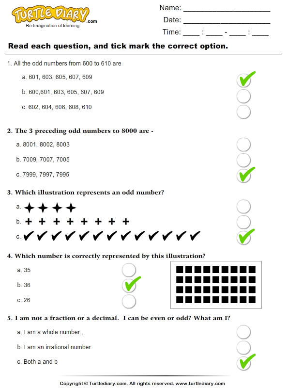 Odd Numbers : Multiple Choice Questions Answer