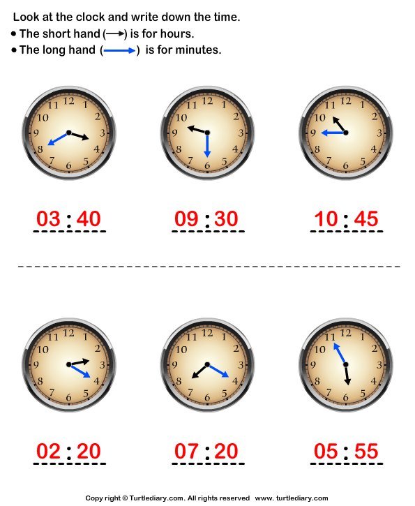 Reading Clock Answer