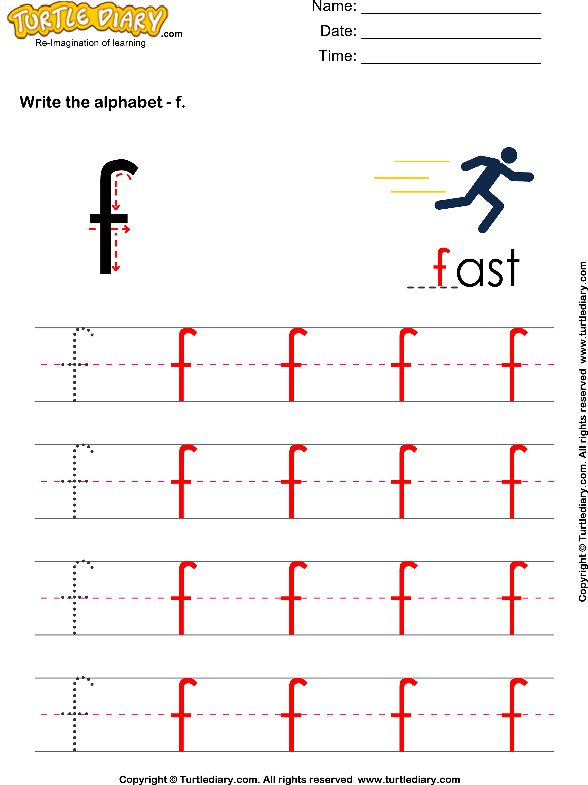 answer-lowercase-alphabet-writing-practice-f X Worksheet For Pre on writing handwriting, trace letters, maths concept for nursery, re un, learning printable, sight words printable,