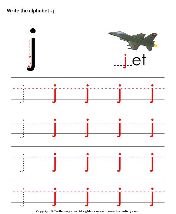 lowercase alphabet writing practice j worksheet turtle diary. Black Bedroom Furniture Sets. Home Design Ideas