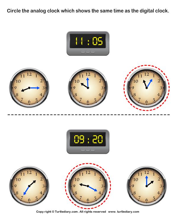 Match Analog and Digital Clocks Answer