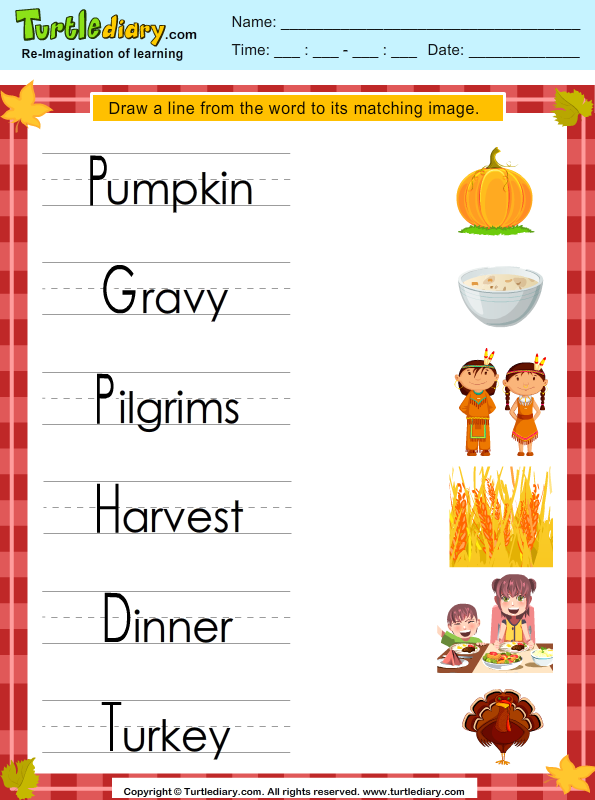 Answer Match Thanksgiving Words With Pictures on letter k worksheets for kindergarten