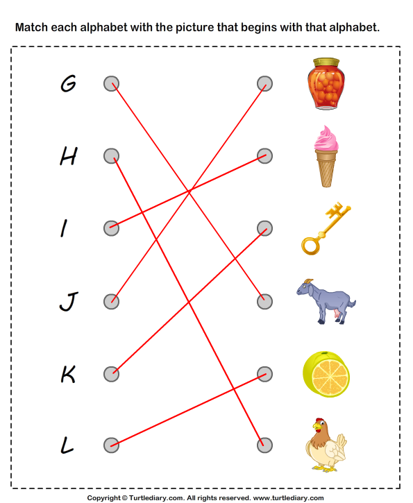 Match Alphabets to the Objects Answer