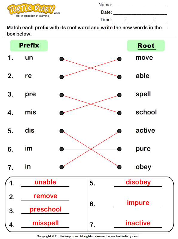Match Prefixes to Root Words Answer
