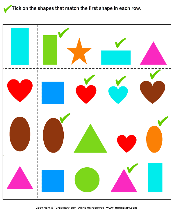 Matching Similar Shapes Worksheet Turtle Diary