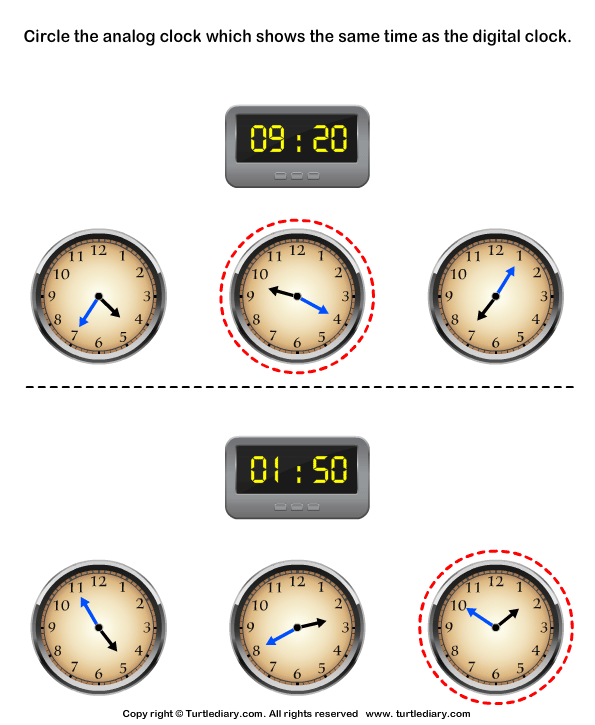 Match Analog and Digital Clocks Answer