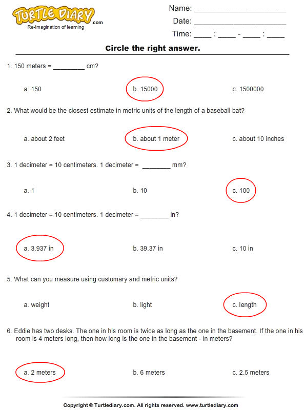 Metric Units : Choose the Right Option Answer