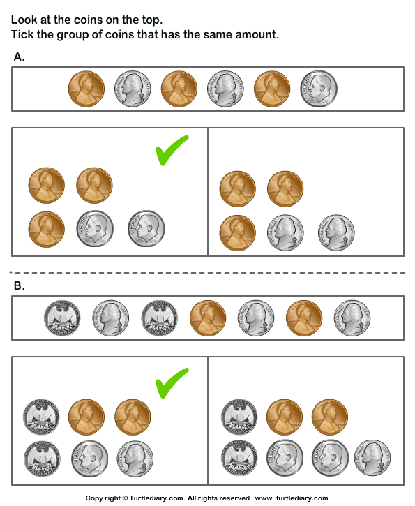 Equivalent Amount with Mixed Coins Answer