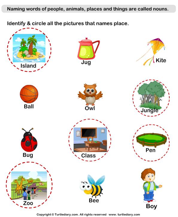 Naming Place Nouns Worksheet Turtle Diary – Kindergarten Noun Worksheets