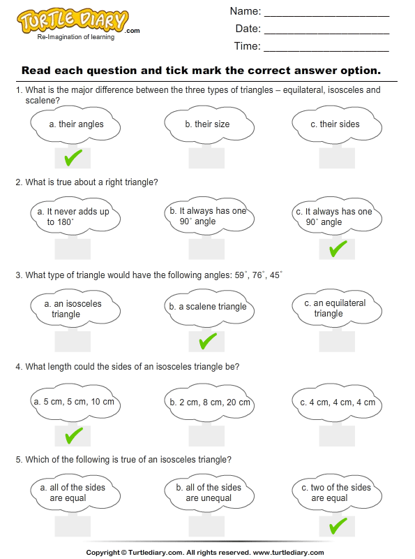 Triangles : Multiple Choice Questions Answer