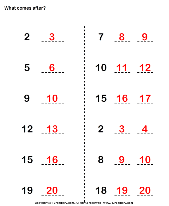 Counting Up Answer