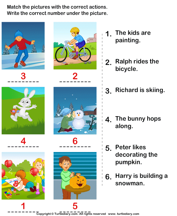 Match the Sentences to Pictures Answer