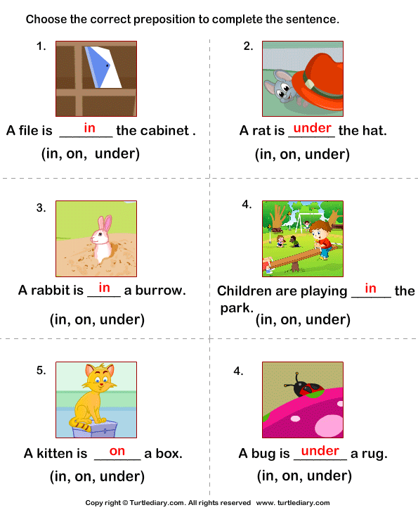 prepositions in on under worksheet turtle diary. Black Bedroom Furniture Sets. Home Design Ideas