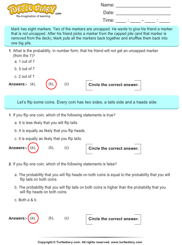 Probability: Multiple Choice Questions Answer