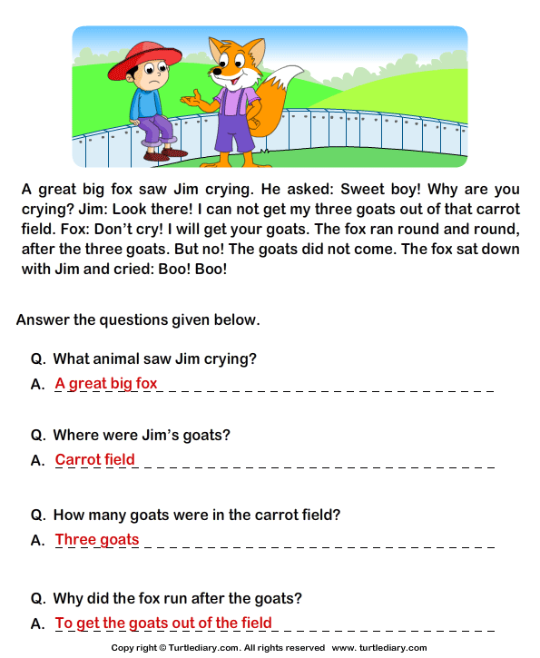 Reading With Questions Worksheets : Read comprehension jim and his goats answer the