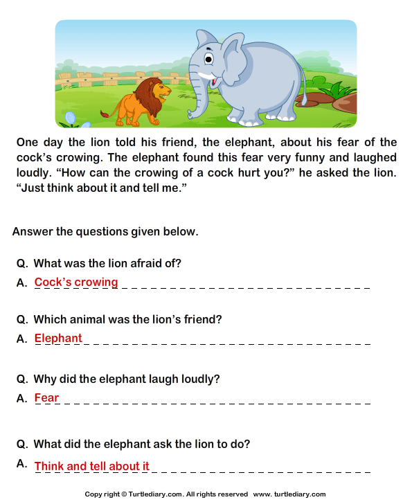 Free Worksheets preschool reading worksheets free : Read Comprehension Lion and Cock and Answer the Questions ...