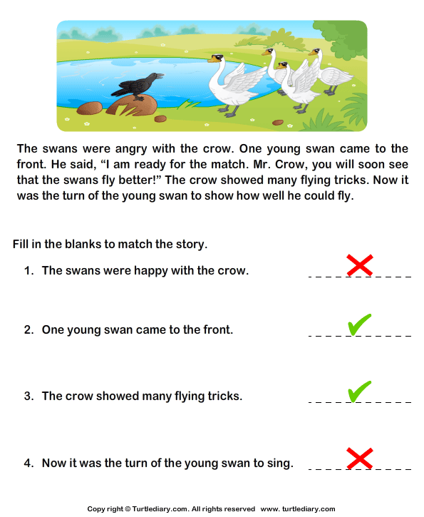 Reading Comprehension Crow and Swans Worksheet - Turtle Diary