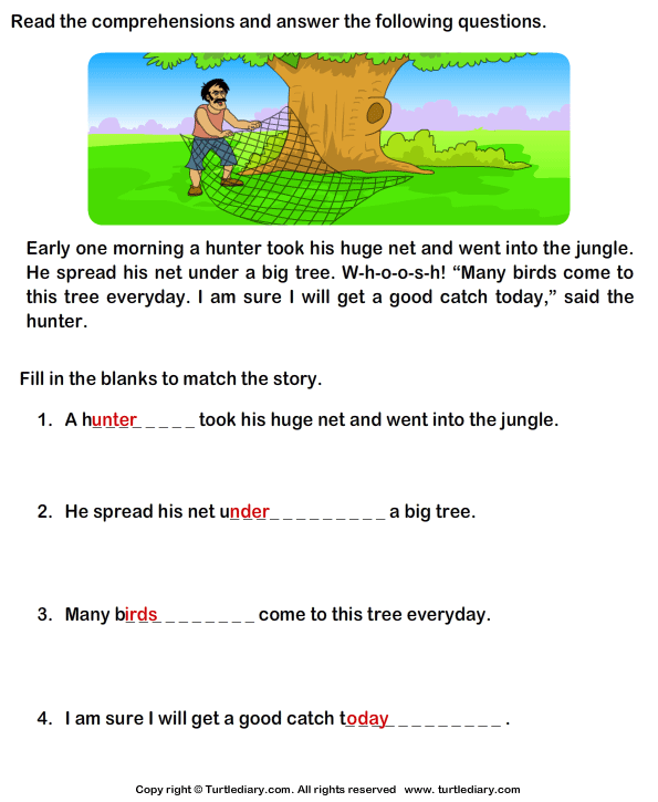 Worksheets Reading Comprehension Worksheets 11th Grade reading comprehension hunter worksheet turtle diary stories answer