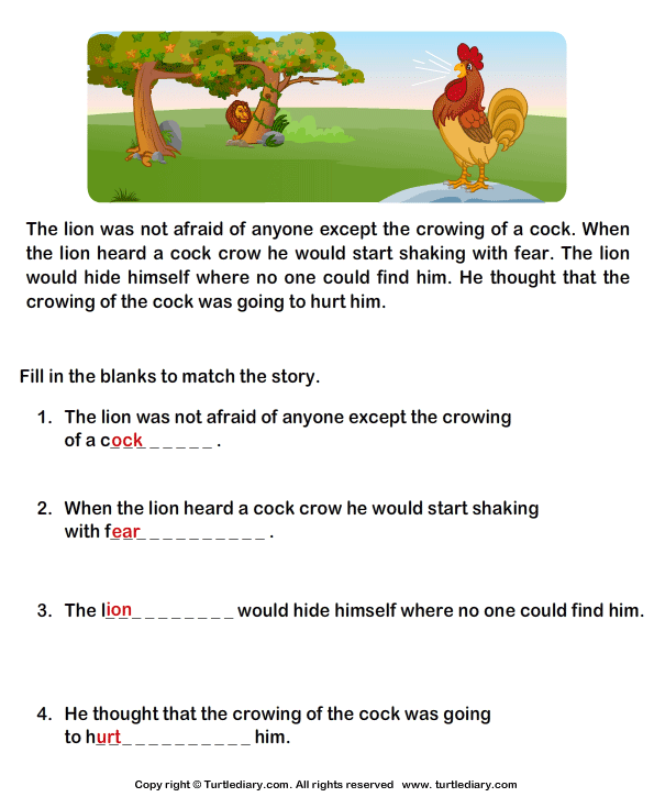 Reading Prehension Lion And Cock Worksheet Turtle Diary