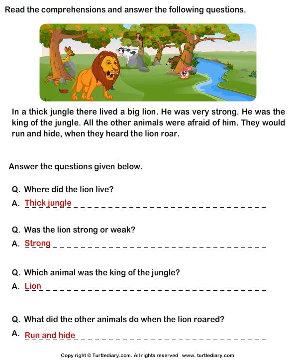 Worksheets Reading Comprehension For Grade 1 With Questions reading comprehension lion worksheet turtle diary stories answer