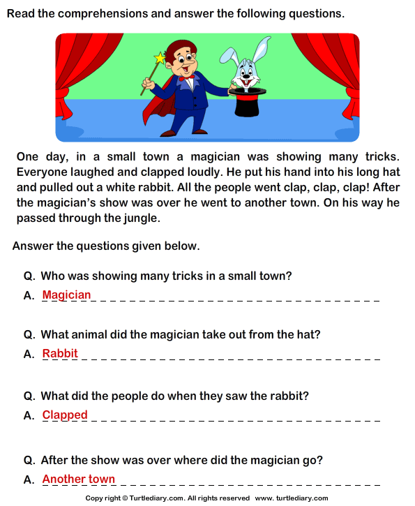letter for a friend reading comprehension magician worksheet turtle diary 22825 | answer reading comprehension magician