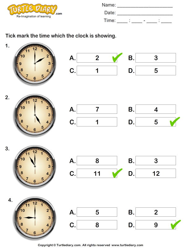 reading time on analog clocks worksheet