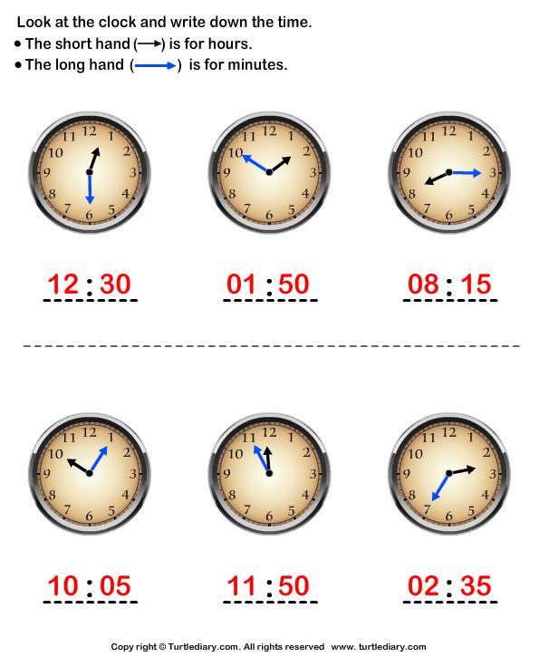 Reading Clock Answer