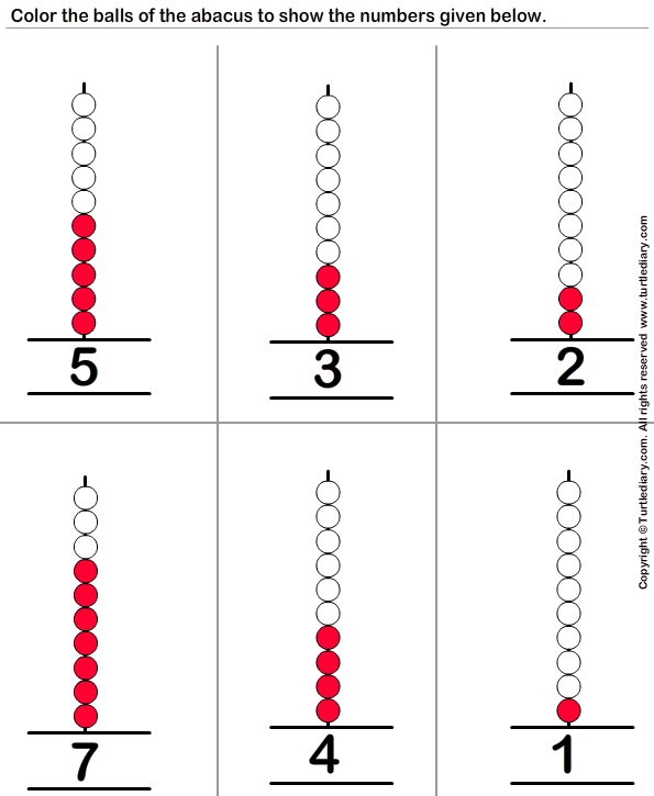 answer-represent-one-digit-numbers-on-abacus-by-coloring-balls Abacus Math Worksheets Free on abacus math multiplication, mental arithmetic worksheets, abacus math problems, place value first grade addition worksheets, abacus mathematics, abacus clip art, abacus teaching, soroban worksheets, abacus counting, integers worksheets, abacus math book,