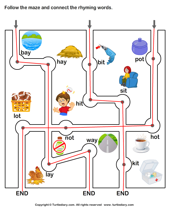 Connect the Rhyming Words Answer