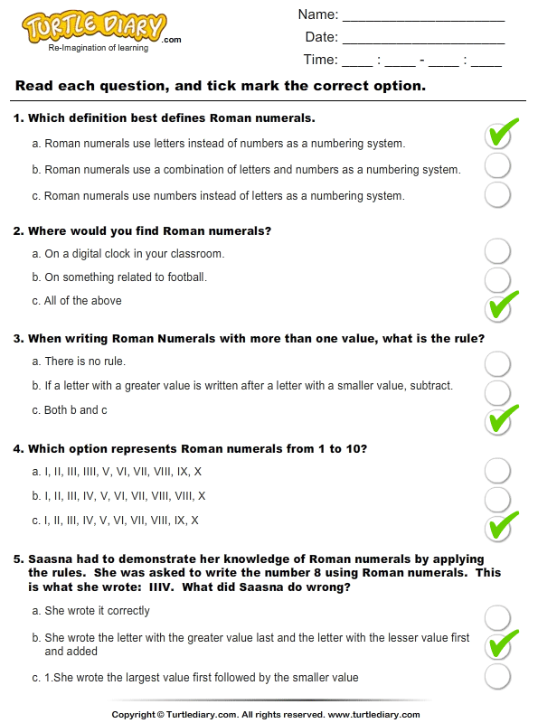 Roman Numerals (I - Xx) : Multiple Choice Questions Answer