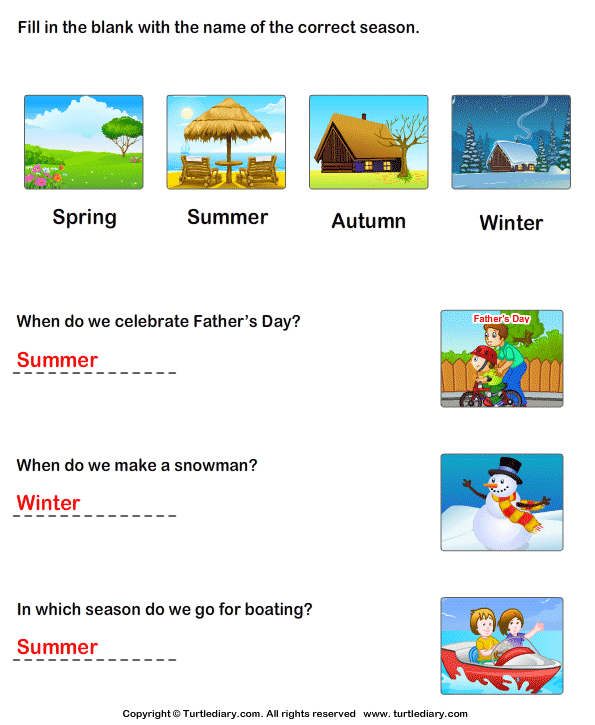 Seasons: Answer the Questions Answer