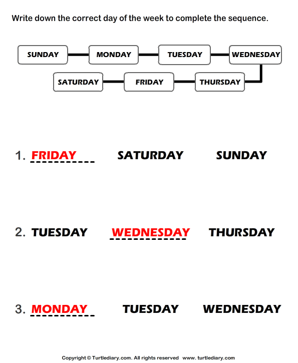 Sequence of Days of the Week Answer