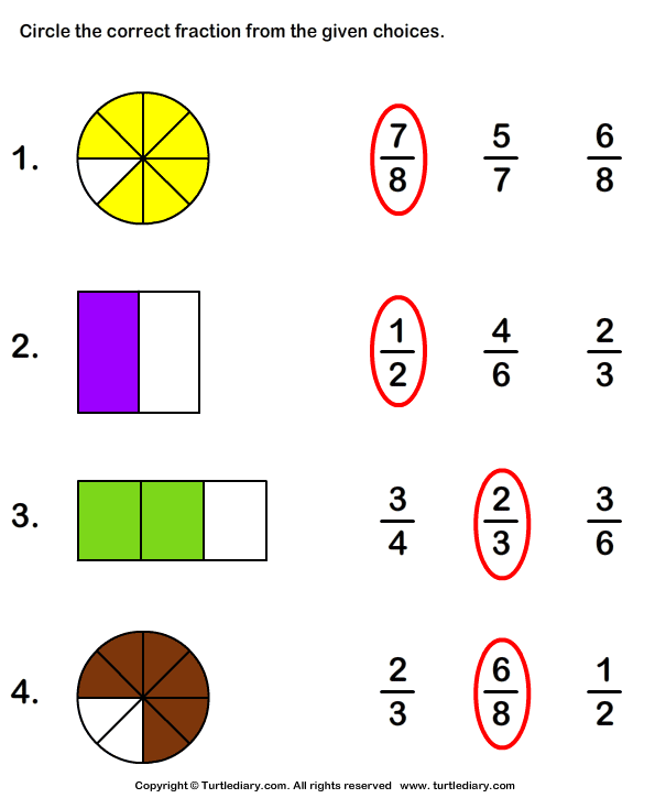 Shaded Part As Fraction Worksheet Turtle Diary