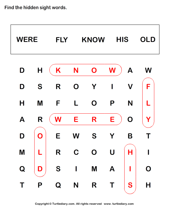 Sight Word Crossword Answer