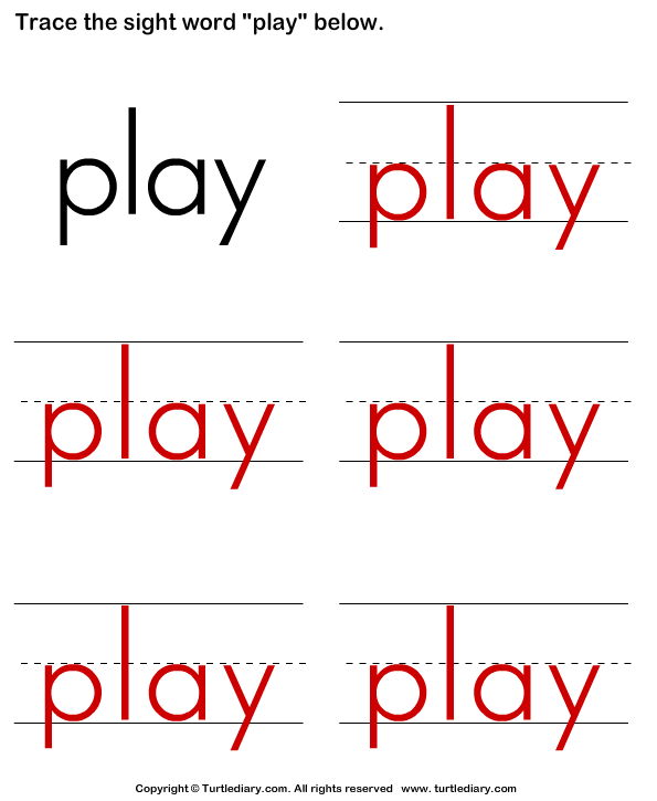 Trace the Sight Words Answer
