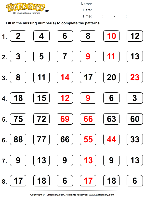 Skip Counting Answer